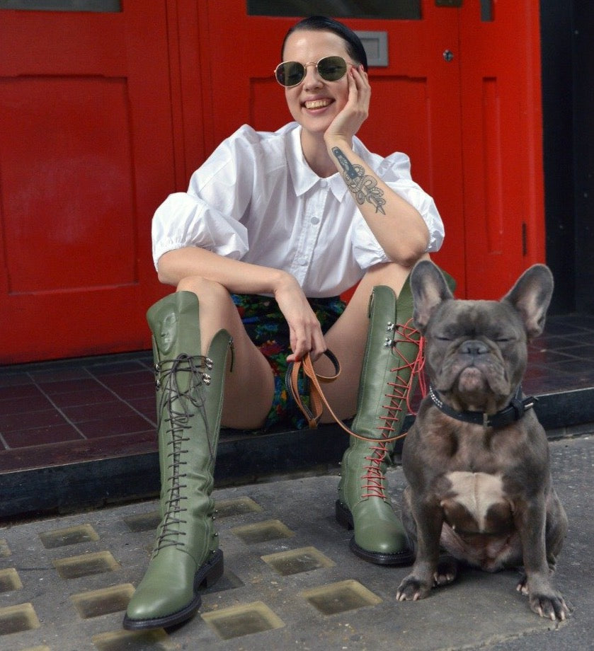 Delicate Enyo Khaki lace-up boots from London