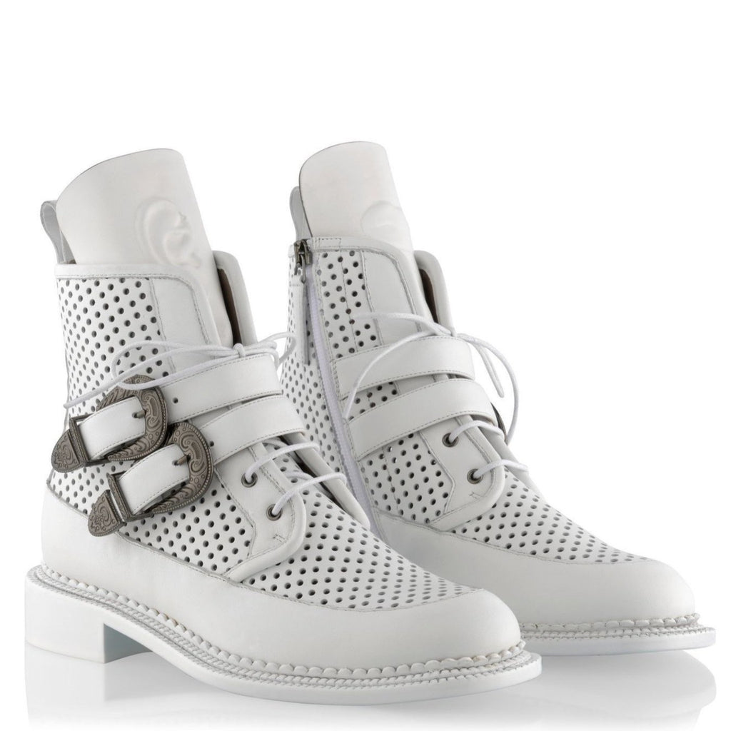 Zelos White Buckle Perforated
