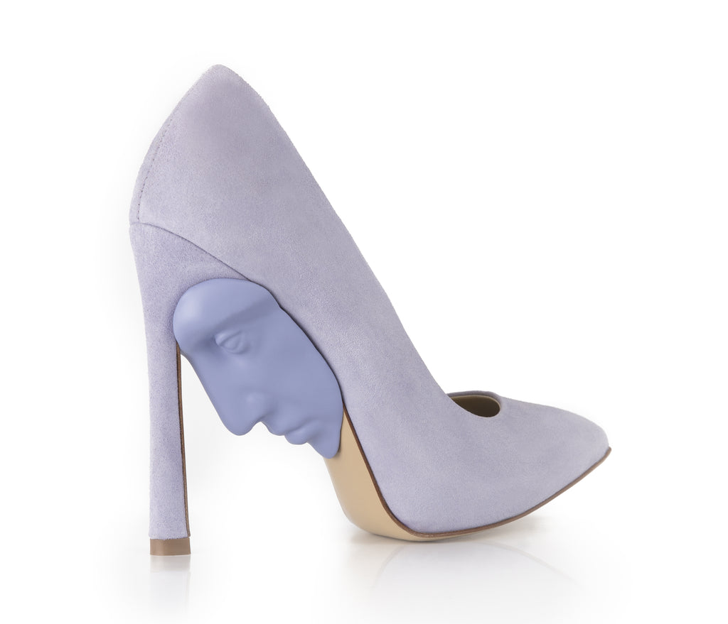 Women's high heel lilac shoes with face