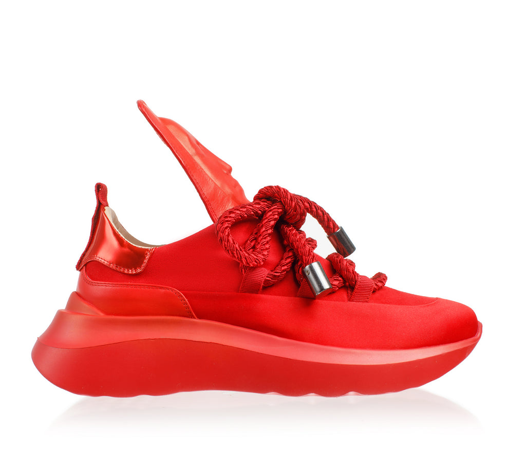 Fashionable red women's sneakers