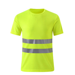 Safety Reflective High Visibility Quick Drying Fluorescent Yellow Short Sleeve T-shirt Free Shipping