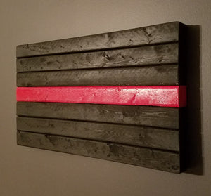"Thin Red Line Plaque, 10"" x 18""."