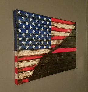"War Torn Thin Red Line / American Flag, 20"" x 30""."