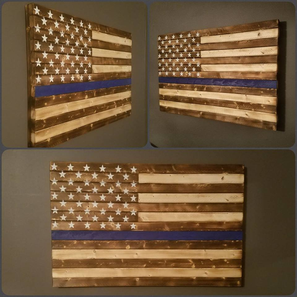 Rustic Thin Blue Line American Flag, 20