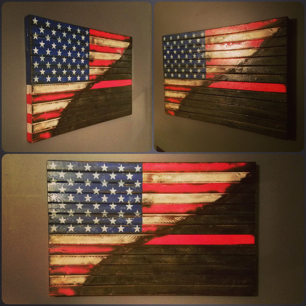 War Torn Thin Red Line / American Flag, 20