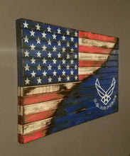 "War Torn American Flag / United States Air Force Edition, 20"" x 30""."