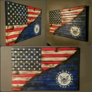 "War Torn American Flag / United States Navy Edition, 20"" x 30""."
