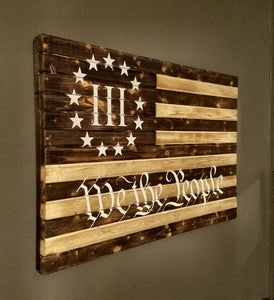 """We the People"" Rustic American Flag, 20"" x 30""."