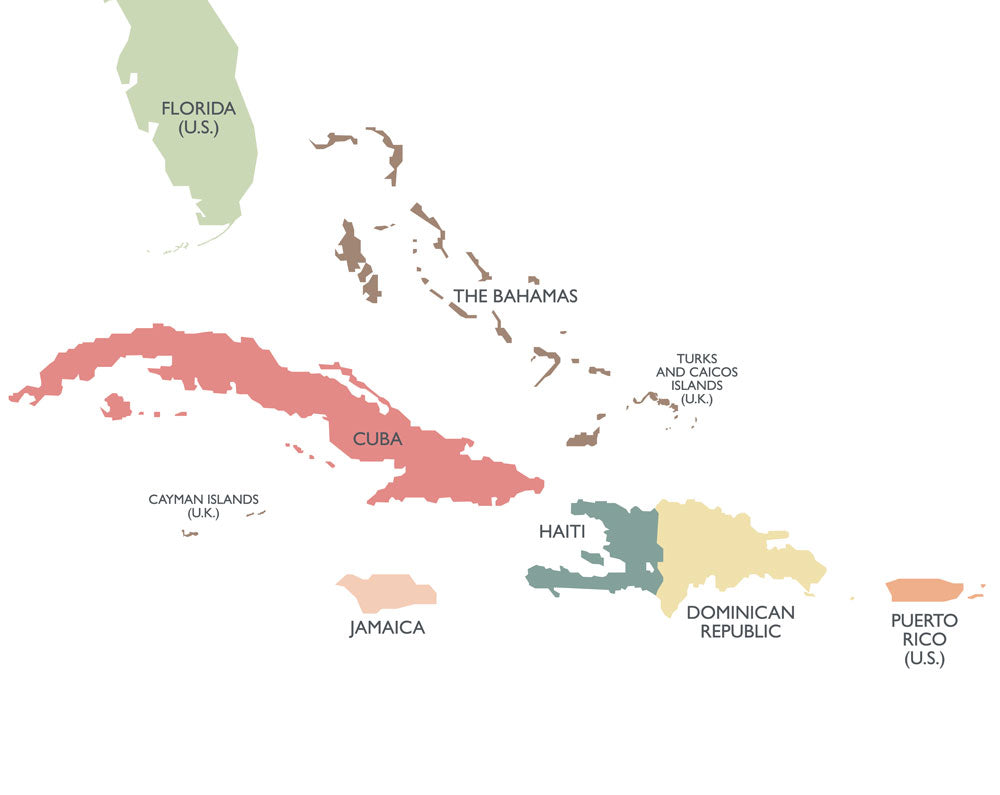 Map of the Carribean Islands