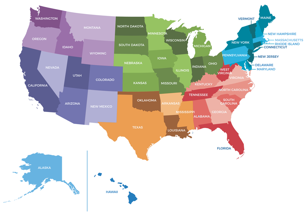 Maps of USA with regions in different colors