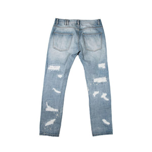 Blue jean distressed denim