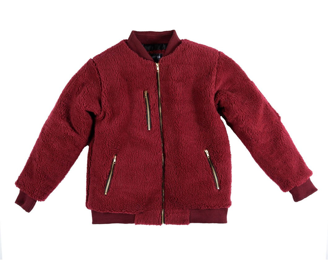 Burgundy Sherpa Coat
