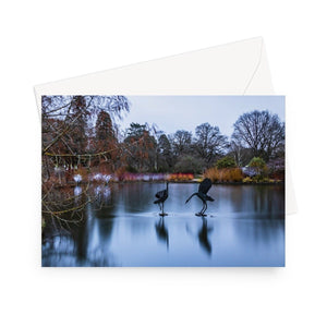 'Seven Acres Lake' - High quality greeting card featuring my long exposure photograph, looking across Seven Acres Lake to the colourful Winter Walk at RHS Wisley. Printed on high-quality 330gsm Fedrigoni card. Envelope supplied.
