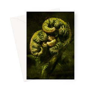 'Unfurling Fern and Brocade' -  Greeting Card