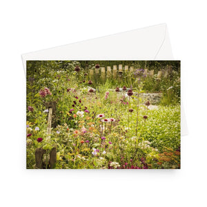 'Cottage Garden' - High quality greeting card featuring my photograph of a lovely meadow-like cottage garden. Printed on high-quality 330gsm Fedrigoni card. Envelope supplied.