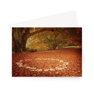 'Fairy Playground' - High quality greeting card featuring my photograph of a 'fairy ring' of fungi amongst fallen leaves. Printed on high-quality 330gsm Fedrigoni card. Envelope supplied.