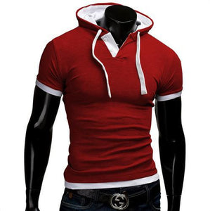 Summer Men Fashion Casual Short Sleeve Tops Hooded