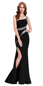 Grace Karin Sequin Long Prom Dresses Black Red Royal Blue Green One Shoulder Formal Evening Gowns Party Special occasion Dress