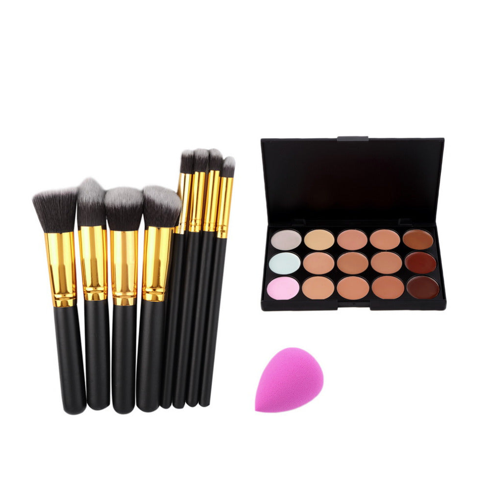 8PCS Makeup Brushes Cosmetics Eyeshadow Eyeliner Brush Kit 15 COLOR Concealer Facial Care Camouflage Makeup Palette Sponge Puff