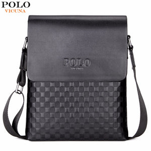 VICUNA POLO Classic Plaid Design Business Man Bag Vintage Brand Mens Messenger Bag Casual Grid Shoulder Bag For Male bolsa Hot
