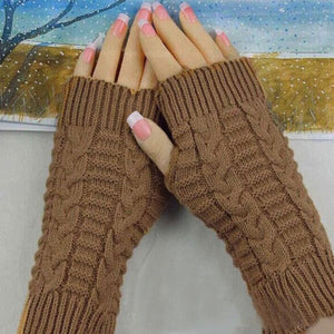 Fashion Winter Gloves Women Wrist Soft Warm Mitten Knitted Arm Fingerless Winter Gloves Unisex Soft Warm Mitten