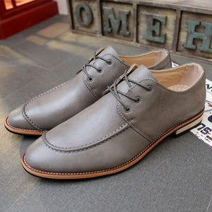 New Fashion Leather Men Oxford Shoes Lace-Up Business Dress Men Shoes High Quality Men Flat Shoes Mens Flats Black Mens Oxfords