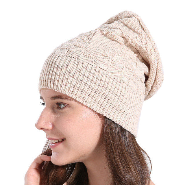 Winter Knitted Wool Beanie Female Skullies Casual Baggy Warm Winter Wool Knit Ski Beanie Caps Hat