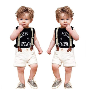 Summer Boys Clothes 2017 Children Baby Boy Clothing Set Gentleman Letter Print TShirt Tops+ Suspender Pants Toddler Kids Clothes