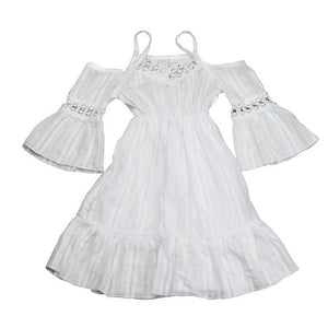 Pageant White Cute Lace strapless Dresses for kids Girl Clothes 2017 Summer Beach Clothing Party Dress Princess Kids Baby Girls