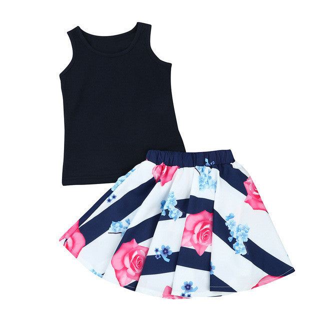 MUQGEW Kids Summer Clothes Children Toddler Kids Girl T shirt Tops Vest + Floral Skirt Dress Clothes Outfits Set Mode Enfant