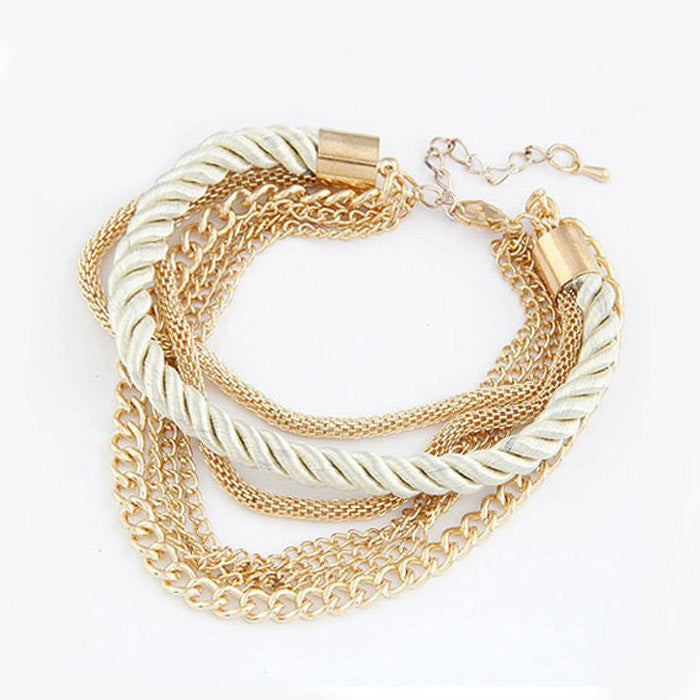 Handmade Gold Chain Braided Rope Multilayer Bracelet Bangle Chain WH