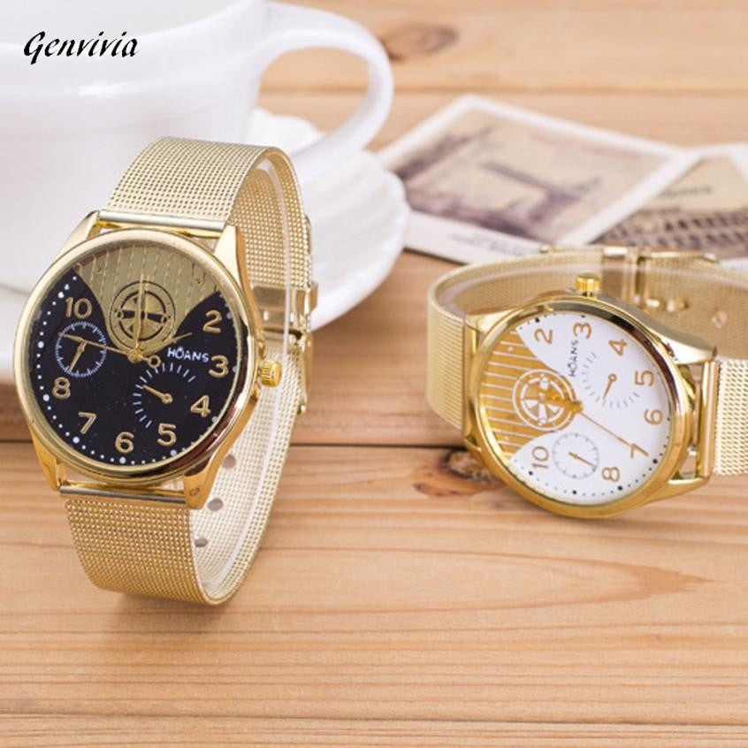 GENVIVIA Brand New Women Ladies Crystal Gold Mesh Band Wrist Watch Wholesale Watches Lots