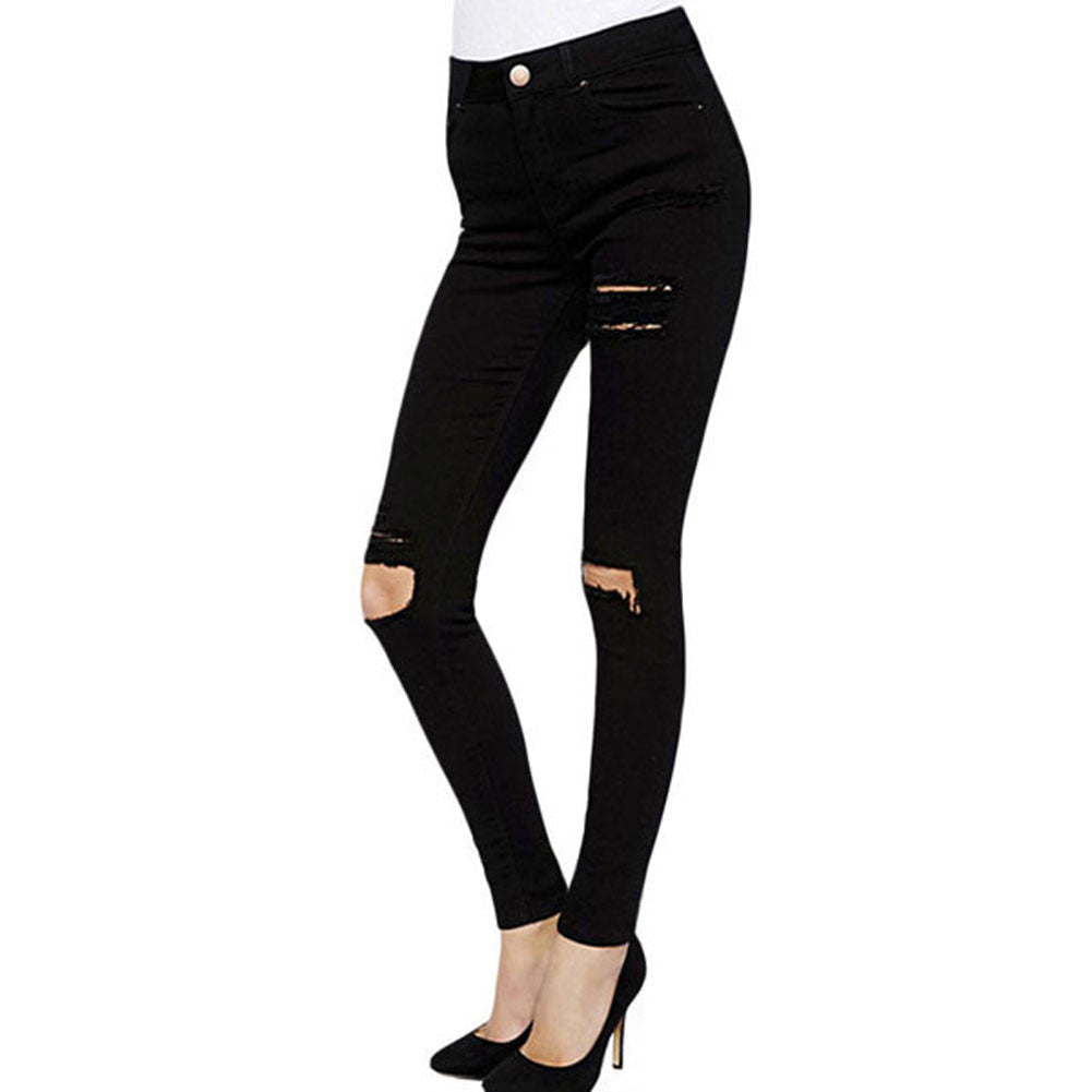 Womens Classic High Waist Ripped Knee Skinny Jeans