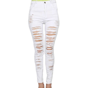 Women Ripped Destroyed High Waist Skinny Jeans Distressed Slim Fit Denim Trousers