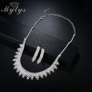 Mytys Sparkling White Gold Jewelry Sets for Women Necklace and Earring Sets Wedding Bridal Accessory Gift CN312