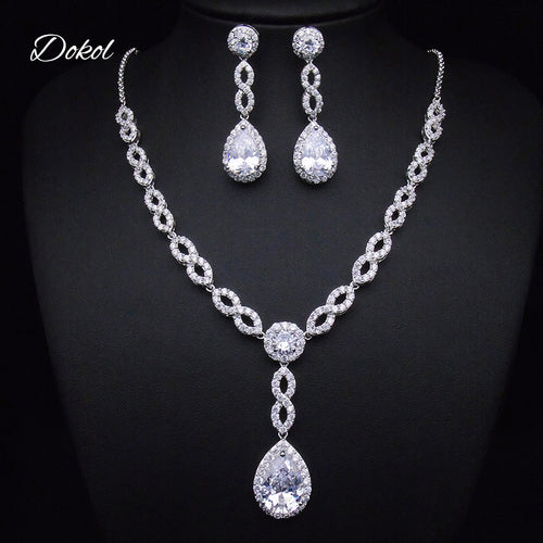 DOKOL Classic Pear Cut Zircon Bridesmaids Jewelry Sets Sparkling Silver Color Crystal Earrings Necklaces Set for Wedding DKS0085