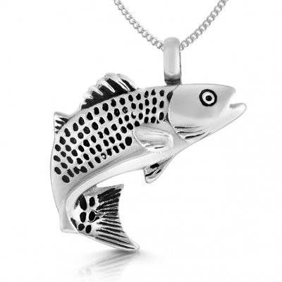 Fish/Fishing Urn Memorial Locket Necklace, with Personalisation, Stainless Steel