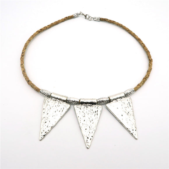 Tri-Pendant Triangle Statement Necklace