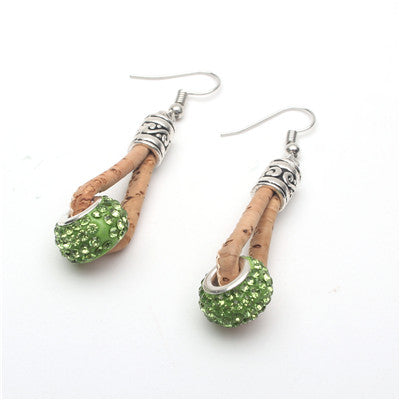 Cork Diamanté Bead Earrings