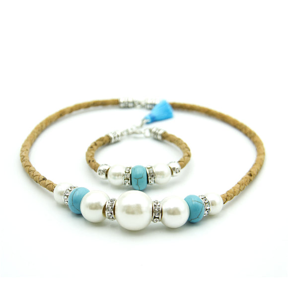 Faux Pearl and Turquoise Bead Necklace and Bracelet Set