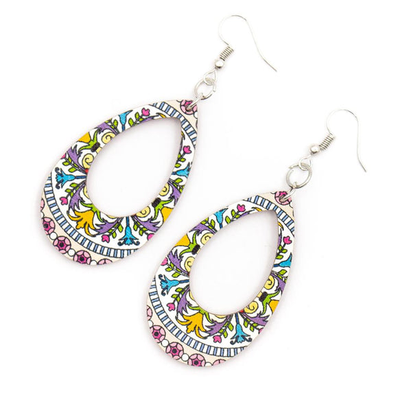 Multicolour Raindrop Cork Earrings