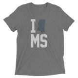 I Heart, Love, State MS, MIssissippi Heather Tee