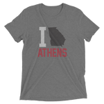 I Love/State/Heart Athens Georgia, Red Black, Heather Grey Tee