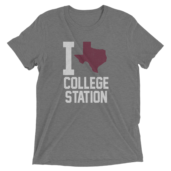 I Texas Love Heart College Station, Heather Tee