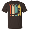 Image of 1970 s style upward facing dog silhouette yoga