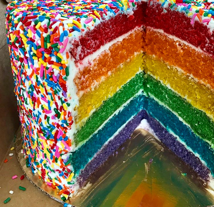 Six Layer Rainbow Funfetti Cake
