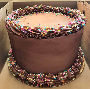 Classic Chocolate with rainbow confetti sprinkles