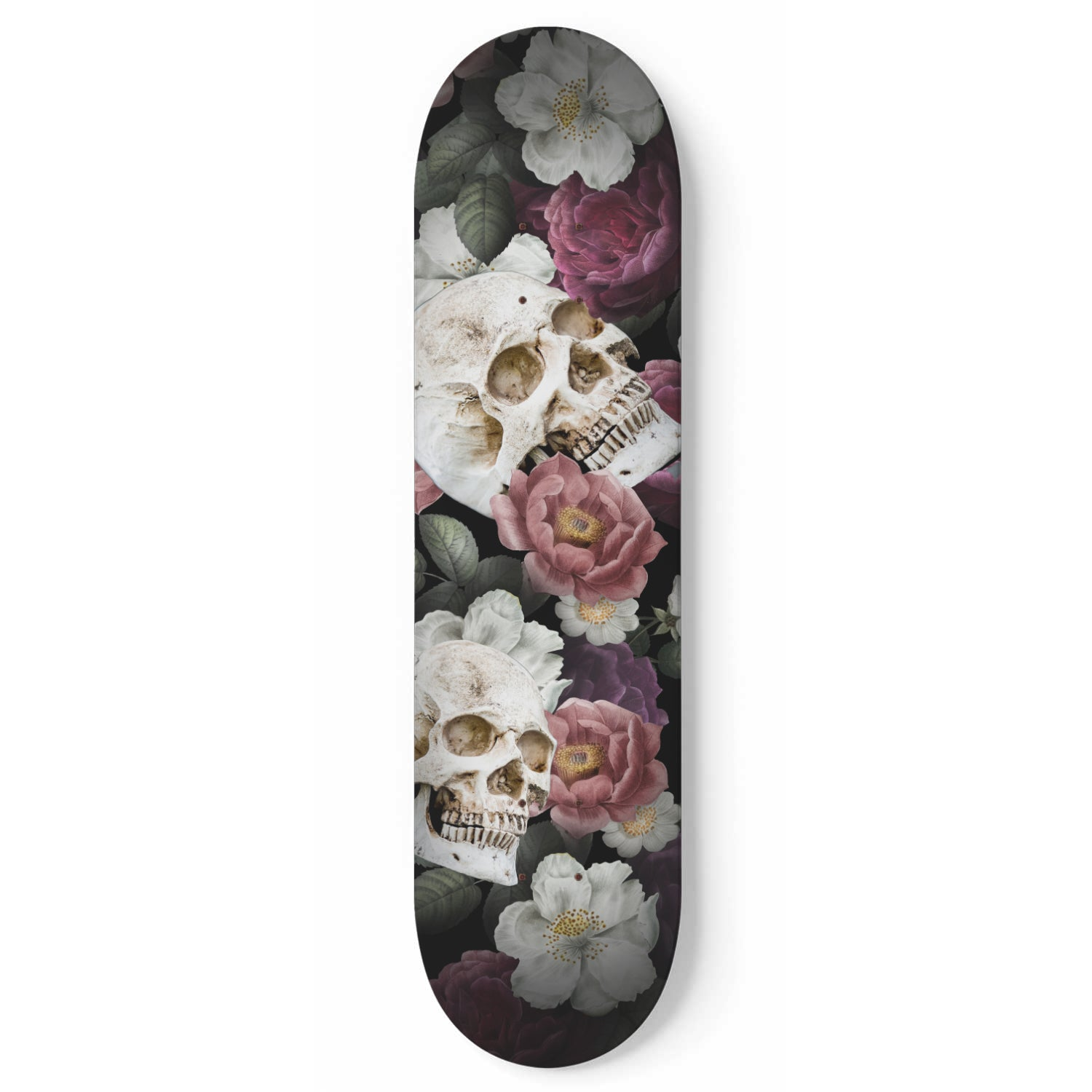 Floral Skull - 1 Piece Skateboard Wall Art