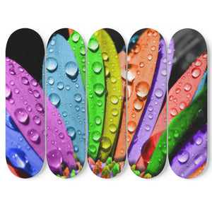 Water Droplets - 5 Piece Skateboard Wall Art