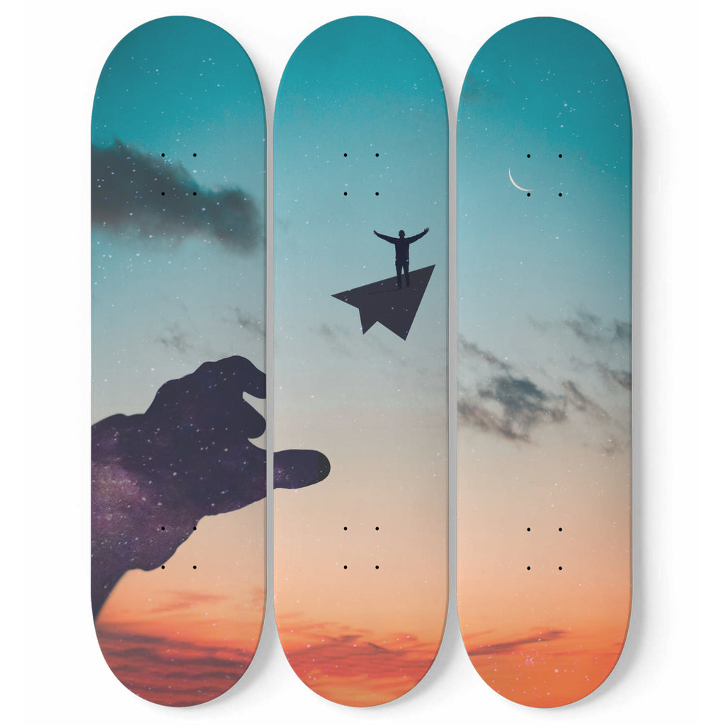 Let the Dream Fly - 3 Piece Skateboard Wall Art
